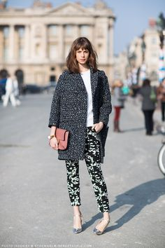 Oversized coat on patterned pants for fall