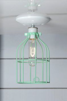 Mint Green Cage Light - Ceiling Mount | Industrial Light Electric, Industrial Modern Lighting, Vintage Industrial Style Lights with a Modern Design