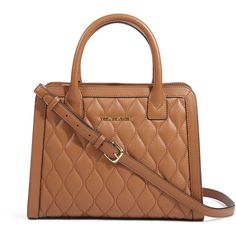 Vera Bradley Quilted Natalie Satchel in Cognac ($258) ❤ liked on Polyvore featuring bags, handbags, purses, cognac, new arrivals, quilted leather handbags, satchel purse, real leather handbags, genuine leather purse and quilted purses
