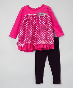 Look what I found on #zulily! Pink Polka Dot Tunic & Black Leggings - Infant & Toddler #zulilyfinds
