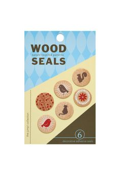 Inspired by animals and flora these unique seals are perfect for adding a bit of natural charm to envelopes and gifts. 3/4 diameter / set of 6 seals  Nature Wood Seals by Girl of All Work. Home & Gifts - Gifts - Odds & Ends California