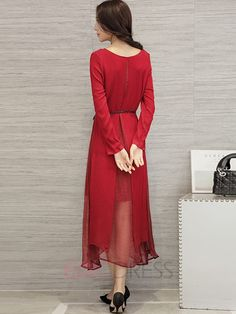 Ericdress Plain Double-Layer A-Line Maxi Dress Robe maxi