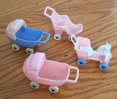 Lot of 4 Vintage Dollhouse Miniature Baby Carriages Acme Thomas Plastic Toys | eBay