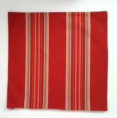 Pottery Barn Set of 2 18 Inch Square Pillow Covers Red Golden Yellow Stripes - Pillows