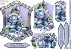Blue Porcelain Roses Pyramage Topper on Craftsuprint designed by Sandie Burchell - Beautiful Shaped Pyramage Topper with 3 Layers of Pyramage and choice of sentiment panels which includes: Happy Birthday, Happy Mother's Day or Blank for your own message. To search for more in this style click on my name and enter pyramage topper in my search box. Please take a look at my other designs by clicking on my name. - Now available for download!