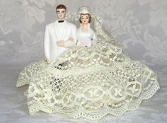Antique Vintage WILTON Bride & Groom Figurine WEDDING CAKE TOPPER Bisque LACE | eBay
