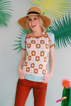 "Sporty T-Shirt ""LIVIA"" in mint creme braun"