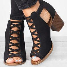 Women's Ankle Boots Chunky Heel Cloth Buckle Hollow-out Boots, veryvoga Flat Heel Boots, Chunky Heel Ankle Boots, Chunky Heel Pumps, Peep Toe, Neutral, Sneaker Boots, Fashion Shoes, Shoes Sandals, Clothes For Women