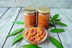 Zacusca de dovlecei Canning Pickles, Chana Masala, Preserves, Carrots, Salsa, Stuffed Peppers, Vegan, Vegetables, Ethnic Recipes