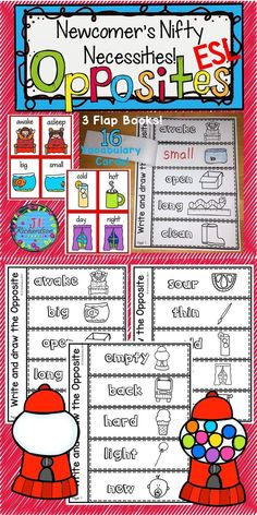 Enjoy this fun way to teach opposites. This antonym vocabulary resource can be used in a variety of ways! (For kindergarten, first grade, second grade and ESL students of all ages.) Take a look at the preview! This resource can be used in many ways: Memory, Find My Match, Pocket Chart, Anchor Chart, Word Wall, My Book of Opposites, Flap Books  Included: 16 Opposite Vocabulary Cards (color & black and white) 3 flap books