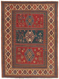 Caucasian Bordjalou Kazak, 5ft 3in x 6ft 9in, 2nd Quarter, 19th Century. This approximately 175-year-old, high-mountain Caucasian nomad rug presents a soaring level of artistry, a one-in-the-world array of tribal designs and an extraordinary, potent color palette.