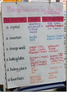 We read the story Two Bad Ants by Chris Van Allsburg, which is a *super* book for using picture and text clues for making predictions, since the book is told from the POV of the ants, make this chart to record the clues and predictions…