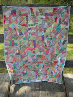 Modern Patchwork Quilt - Turquoise, Orange, Pink, Green & Purple - Toddler or Throw Size