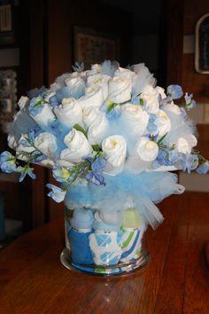 Diaper bouquet made using a couple of pinterest ideas.