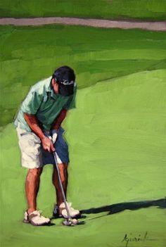 """Daily Paintworks - """"Long Putt"""" - Original Fine Art for Sale - © Karin Jurick Golf Painting, Figure Painting, Golf Lessons, Art Lessons, Golf Images, Golf Art, Golf Photography, Golf Player, Putt Putt"""