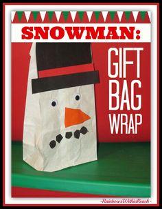Snowman Gift Bag Wrap in Kindergarten via RainbowsWithinReach