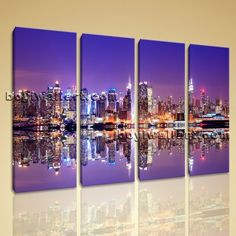 "Large Framed Contemporary Abstract Landscape HD Print Urban City Wall Art New Extra Large Wall Art, Gallery Wrapped, by Bo Yi Gallery 51""x36"". Large Framed Contemporary Abstract Landscape HD Print Urban City Wall Art New Subject : Historic Style : Photography Panels : 4 Detail Size : 12""x36""x4 Overall Size : 51""x36"" = 130cm x 91cm Medium : Giclee Print On Canvas Condition : Brand New Frames : Gallery wrapped [FEATURES] Lightweight and easy to hang. High revolution giclee…"