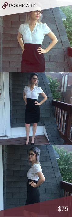 Selling this Black Pencil Skirt with White Button Down Blouse on Poshmark! My…