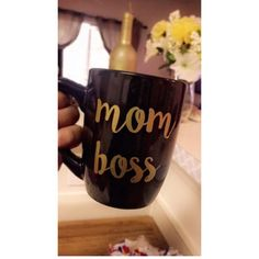 Brenda let's everyone know that she's •mom boss• with her tea mug. Who do you know that's a Mom boss?