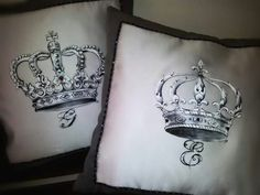Cuscini dipinti a mano handmade lui e lei