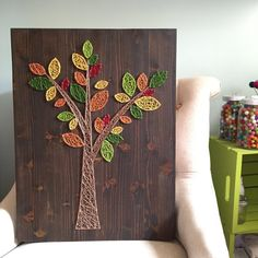 String Art Abstract Tree Sign with Fall Leaves by TheHonakerHomeMaker