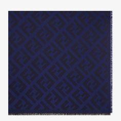 Blue wool and cashmere shawl - FF SHAWL | Fendi