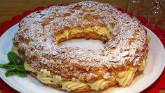 Corona de Navidad (París Brest relleno de crema de turrón) - Recetas de ... Paris Brest, Gourmet Recipes, Sweet Recipes, Cake Recipes, Dessert Recipes, Cooking Recipes, Pan Dulce, Tasty Videos, Cream Cheese Recipes