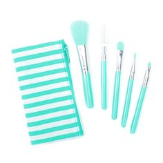 Pastel Makeup Brush Set of 5 in Striped Pouch | Claire's