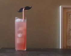Paper Mustache on drinking straw