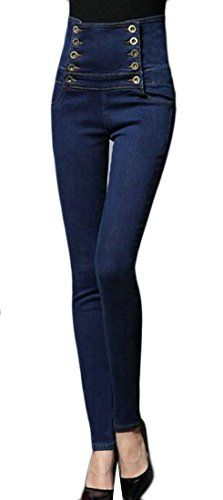 a99903ce739 Cromoncent Womens High Waist Plus Size Stretch Denim Slim Jeans Pant Slim  Jeans