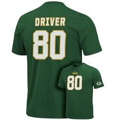 Donald Driver Green #80 Green Bay Packers Eligible Receiver Name & Number T-Shirt by VF. $31.95. Support your favorite Packers player with this Donald Driver Green #80 Green Bay Packers Eligible Receiver Name & Number T-Shirt. Featuring the team's vibrant color scheme, this Green Bay Packers t-shirt features screen print graphics of your favorite player's name and number. This shirt is just what you need to help cheer on your team all season long.