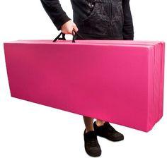 """New Large 4'x8'x2"""" PU Gymnastics Mat Folding Panel Gym Exercise Yoga Mat Pad Pink"""