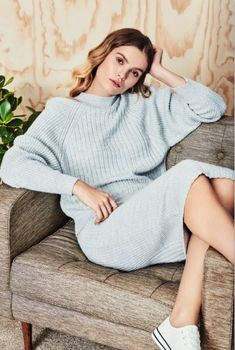 Pair a cosy ribbed jumper with a matching knitted midi skirt for the cosiest co-ord you've ever seen. Loungewear looks just got an update.