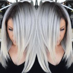 """Hot on Beauty on Instagram: """"Stunning Silver hair color design with dark shadow root by @makeupbyfrances #multifaceted #multidimensional #hotonbeauty"""""""