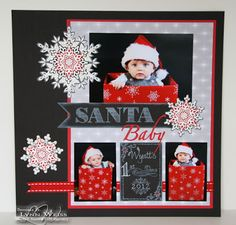 LW Designs: Santa Baby scrapbook page using Festive Flurry stamps & framelits