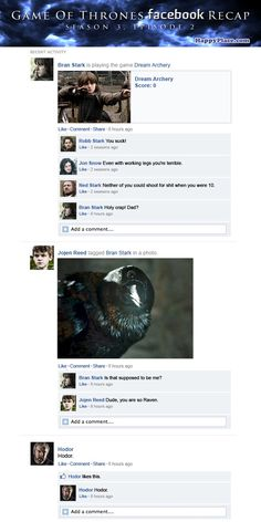 If Game Of Thrones took place entirely on Facebook: Season 3, Episode 2.
