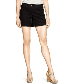 White House | Black Market Cuffed Twill Black Shorts  #whbm