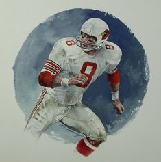 """Louis Cardinals, Safety 3 x 15 ½"""" by Merv Corning, 1996 St Louis Cardinals Football, Nfl Arizona Cardinals, Football Art, Vintage Football, Football Helmets, Football Pictures, Sports Pictures, Wilson Art, Professional Football"""