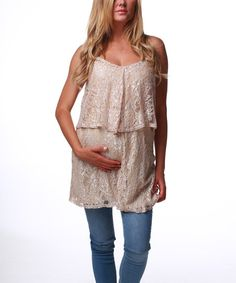 Taupe Lace Overlay Maternity Tunic
