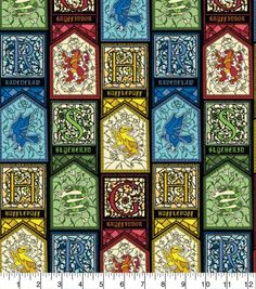 Harry Potter Stained Glass Houses Cotton Fabric Sew Over It Patterns, New Look Patterns, Weird Plants, Real Plants, Harry Potter Fabric, Christmas Fabric Crafts, Tilly And The Buttons, Halloween Fabric, Fabric Gifts