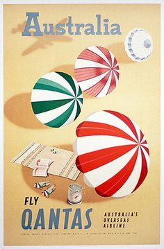 For Sale on - Original vintage travel advertising poster for Australia fly BOAC in association with Qantas featuring a bright and colourful illustration by Frank Nanninga Retro Airline, Vintage Airline, Posters Australia, Australian Vintage, Poster Ads, Advertising Poster, Vintage T-shirts, Travel And Tourism, Travel Posters