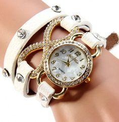Diamond Quartz Watch Wristband Long Leather Watch Band