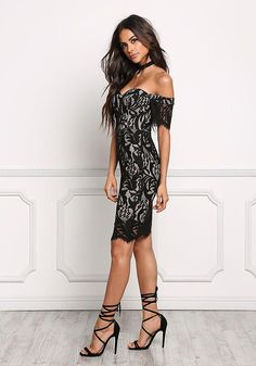 Black Off Shoulder Sweetheart Lace Bodycon Dress - Going Out - Dresses