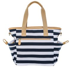 BAOSHA MY-01 Baby Nappy Changing Bag Diaper Tote Bag Messenger Bag with Changing Mat for Mom Blue Strip