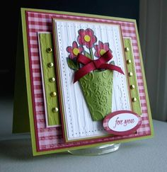 Love this vase card...and she has the template here too. (Possible step card?)