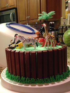 Safari/Zoo cake baby shower 2014 Baby First Birthday Cake, Animal Birthday Cakes, 4th Birthday Cakes, Safari Birthday Party, Cake Baby, 4th Birthday Parties, 2nd Birthday, Zoo Cake, Jungle Cake