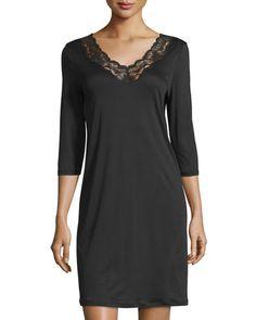 I0PKN Hanro Valencia Short-Sleeve Basic Gown