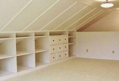 4 Playful Cool Ideas: Attic Home Tiny House rustic attic built ins.Attic Home Tiny House attic storage remodel. Attic Playroom, Attic Loft, Loft Room, Bedroom Loft, Attic Office, Bedroom Wardrobe, Garage Attic, Attic Library, Attic House