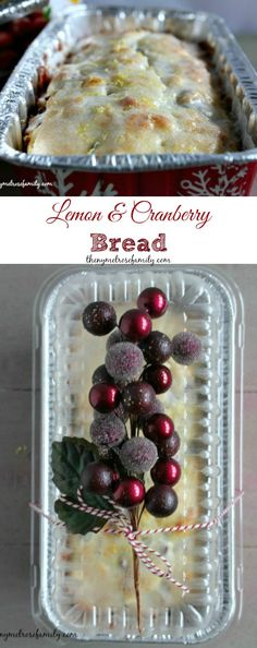 A lightened Lemon & Cranberry Bread.