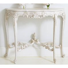 The exquisite detail of The French Bedroom's Provencal Marie Antoinette White Console Table.